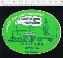 Autocollant Sticker Publicité Comité Des Commercants Angers Centre-gare Le Blé Noir Crêperie Rue Delaâge Train 21/12ADH - Stickers