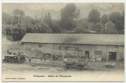 VILLEGUSIEN Construction De La Digue, Atelier De L'entreprise, Locomotive, Rare - France