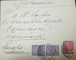 O) 1901  BOLIVIA, COVER VIA PANAMA, COAT OF ARMS  2c LILAC- COAT OF ARMS 1c CARMINE, TYPE A54, TO EUROPA, XF - Bolivie