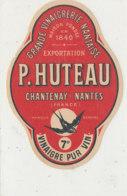 VI 68 - ETIQUETTE VINAIGRE  DE VIN  P. HUTEAU   NANTES - Labels