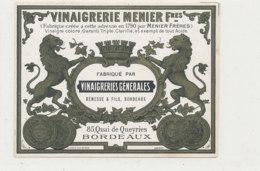 VI 82  - ETIQUETTE VINAIGRE D'ALCOOL  VINAIGRERIE MENIER  BENESSE & FILS BORDEAUX - Labels
