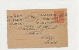 VI 99  - CARTE LETTRE  VINAIGRE D'ORLEANS  RENOMMEE UNIVERSELLE  19-11-28 - Labels