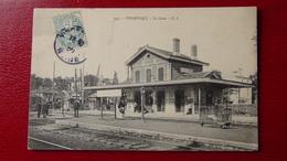Champigny Sur Marne La Gare Animée En 1908 Bon état Voyagèe Timbrée - Champigny Sur Marne