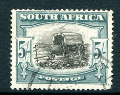 South Africa 1947-54 Screened Printing - 5/- Ox-wagon - Blue-green - Used (SG 122) - Oblitérés