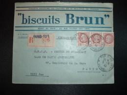 LR TP PETAIN 1F50 + PAIRE OBL.5-8 42 PARIS 101 + BISCUITS BRUN - Marcophilie (Lettres)