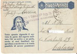 "CARTOLINA POSTALE IN FRANCHIGIA TIMBRO ""COMANDO GRUPPO DEPOSITO 27° REGG.FTR.PAVIA VIAGGIATA 11-5-43. - Guerra 1939-45"