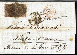 """ITALIE - 1877 - N° 18 X 2 Sur Lettre De Genova à Destination De Nizza De Mare - Réservé Au Pseudo """" Falcheto7"""" - Marcophilie"""