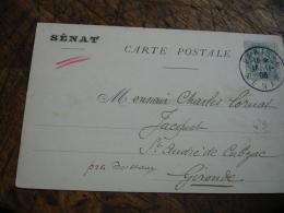 1906 Paris Senat Obliteration Sur Lettre - Poststempel (Briefe)