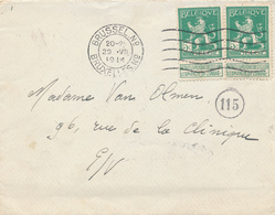 481/27 -- Enveloppe Avec Contenu 2 X TP Pellens BRUXELLES 29 VII 1914 - Texte Intéressant Sur La MOBILISATION - Guerra '14-'18