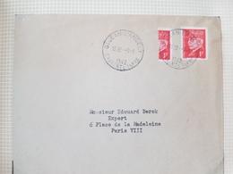 2 Lettres Françaises 1942 Timbre Pétain 1F YT514 1+ 1 Coupé Droit, 1+1 Diagonale - 1921-1960: Modern Period