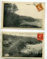 50 CARTERET 2 Cartes PLage Cabines Route De Dennemont 1927       /D10-2015 - Carteret