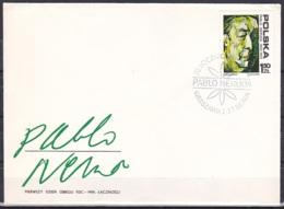 Poland/1974 - Pablo Neruda/Pabla Nerudy - 1.50 ZL - FDC - FDC