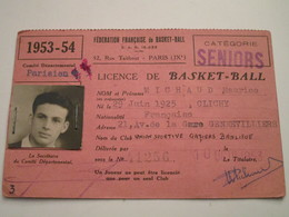 LICENCE DE BASKET-BALL Catégorie SENIORS Année 1953-54 - Sports