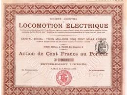 Ancienne Action - Société Anonyme De Locomotion Electrique - Titre De 1900 - N° 26131 - Chemin De Fer & Tramway