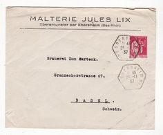 Lettre Envoyée En 1937       Pub  Malterie LIX  à EBERSMUNSTER  Par  EBERSHEIM    Bas Rhin - Postmark Collection (Covers)