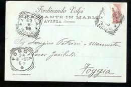 CARTOLINA COMMERCIALE - AVENZA - CARRARA - 1898 - MARMI VOLPI - Magasins