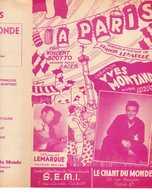 40 60 YVES MONTAND PARTITION À PARIS FRANCIS LEMARQUE PRIX SCOTTO 1947 PLACE DE LA RÉPUBLIQUE ERNY - Music & Instruments