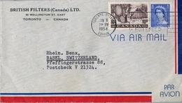 1954 , CANADA , SOBRE CIRCULADO , TORONTO - BASILEA - Cartas