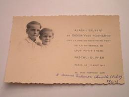 Naissance De Pascal-Olivier ROSHARDT - 36, Rue Fortuny à PARIS - Le 1er Aout 1945 - Naissance & Baptême