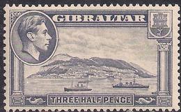 Gibraltar 1938 - 51 KGV1 1 1/2d Grey Rock Gibraltar Umm SG 123b ( G1309 ) - Gibraltar