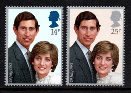 GREAT BRITAIN 1981 Royal Wedding/Charles & Diana: Set Of 2 Stamps UM/MNH - Unused Stamps