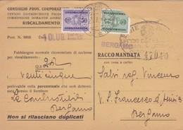 STORIA POSTALE  - SCHEDA DI CONTROLLO DELLE CONSEGNE DI CARBONE - CONSIGLIO PROV. CORPORAZIONI DI BERGAMO - 1900-44 Vittorio Emanuele III