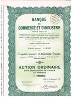 Ancienne Action - Banque  De Commerce Et D'Industrie - Titre De 1935 - N°05539 - Banque & Assurance