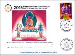 ARGELIA 2015 FDC Rare Cancellation International Year Of Light Lumière Luce Luz Phowa Tibet Buddhism Licht Lichtes - Buddhism