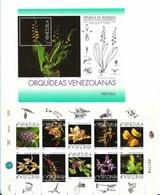 VENEZUELA 1998 ORCHIDS FLOWERS SHEETLET OF 10 VALUES PLUS SOUVENIR SHEET MNH SCOTT 1587/8 MS - Venezuela