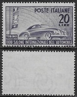 Italia Italy 1950 Salone Auto Torino Sa N.617 Nuovo Integro MNH ** - 1946-60: Nuovi