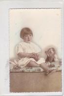 NIÑA GIRL FILLE MENINA BALLOON BOLA PERRO DOG CHIEN COLORISE CIRCA 1900s- BLEUP - Fotografie