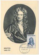 Carte Maximum 1957 Newton Mathématicien YT 1136 Du 09/11/1957 (réf A0636) - Cartes-Maximum