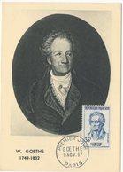 Carte Maximum 1957 Wolfgang Goethe Poète YT 1138 Du 09/11/1957 (réf A0633) - Cartes-Maximum
