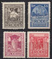 RODI (occupazione Italiana) - Lotto Di Quattro Valori Nuovi MH: Yvert  15, 16, 17 E 21. - Egeo (Rodi)