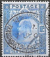 Grande Bretagne Great Britain 1902 KING EDWARD VII 10 S Ultramarine / Bleu Wmk. Anchor / Ancre Used Oblitére - 1902-1951 (Kings)