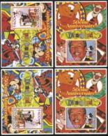Rwanda, Domfil #  NI,  Issued 2005,  Set Of 2 S/S  Perf + Set Of 2 S/S  Imperf,  MNH,  Cat $ 12.00,  Disney - Autres