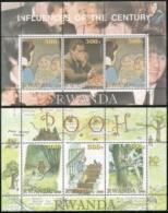 Rwanda, Domfil #  NI,  Issued 2001,  Set Of  2 Perf  S/S  Of 3,  MNH,  Cat $ 7.00,  Disney - Autres