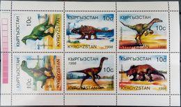 Kyrgyzstan, 1998, Mi. 147-52, Y&T 120-25, Sc. 118, SG 148-53, Prehistoric Animals, Dinosaurs, MNH - Prehistorics
