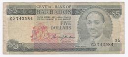 Barbades - Billet De 5 Dollars - Sir Frank Worrell - Non Daté - Barbades