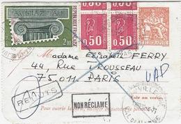 "1975- Carte Pneu 3,00 F CHAPLAIN De  + 4,00 F  "" REBUTS "" + "" NON RECLAME "" Noir - Marcofilie (Brieven)"