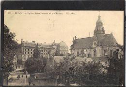 41125 .  BLOIS . L EGLISE SAINT VINCENT ET LE CHATEAU . ND . (recto/verso)   ANNEE . 1913 . PETITE ANIMATION - Blois