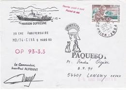 TAAF208 - Marion Dufresne - OP 93 -3.3 - Le Port (Réunion) 30 Mars 1993 - Französische Süd- Und Antarktisgebiete (TAAF)