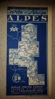 CARTE NEIGE ALPES 1939 SNCF 74-38-73-05-26-06  CARTE N°3 ET 4  CHAMBERY ALLEVARD VALLOIRE MOUTIERS VAL D'ISERE - Dépliants Touristiques