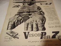 ANCIENNE PUBLICITE LE SPHYNX ET STYLOS  VISOR PEN 7 1961 - Autres Collections