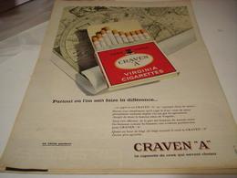 ANCIENNE PUBLICITE  CIGARETTE CRAVEN A 1961 - Tabac (objets Liés)