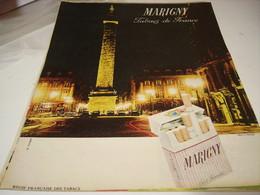 ANCIENNE   PUBLICITE TABACS DE FRANCE CIGARETTE MARIGNY  1961 - Tabac (objets Liés)