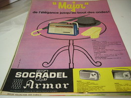 ANCIENNE AFFICHE  PUBLICITE MAJOR RADIO SOCRADEL ARMOR 1961 - Musique & Instruments