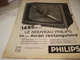 ANCIENNE PUBLICITE TELEVISEUR  DE PHILIPS 1961 - Advertising