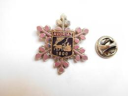 Superbe Pin's , Blason De La Ville D' Avoriaz , 1800 , Traîneau ,  Flocon , Haute Savoie , Alpes , Signé Martineau - Villes