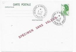 CP GANDON 2,00 Surcharge SPECIMEN SANS VALEUR Oblitérée - Cours D'Instruction